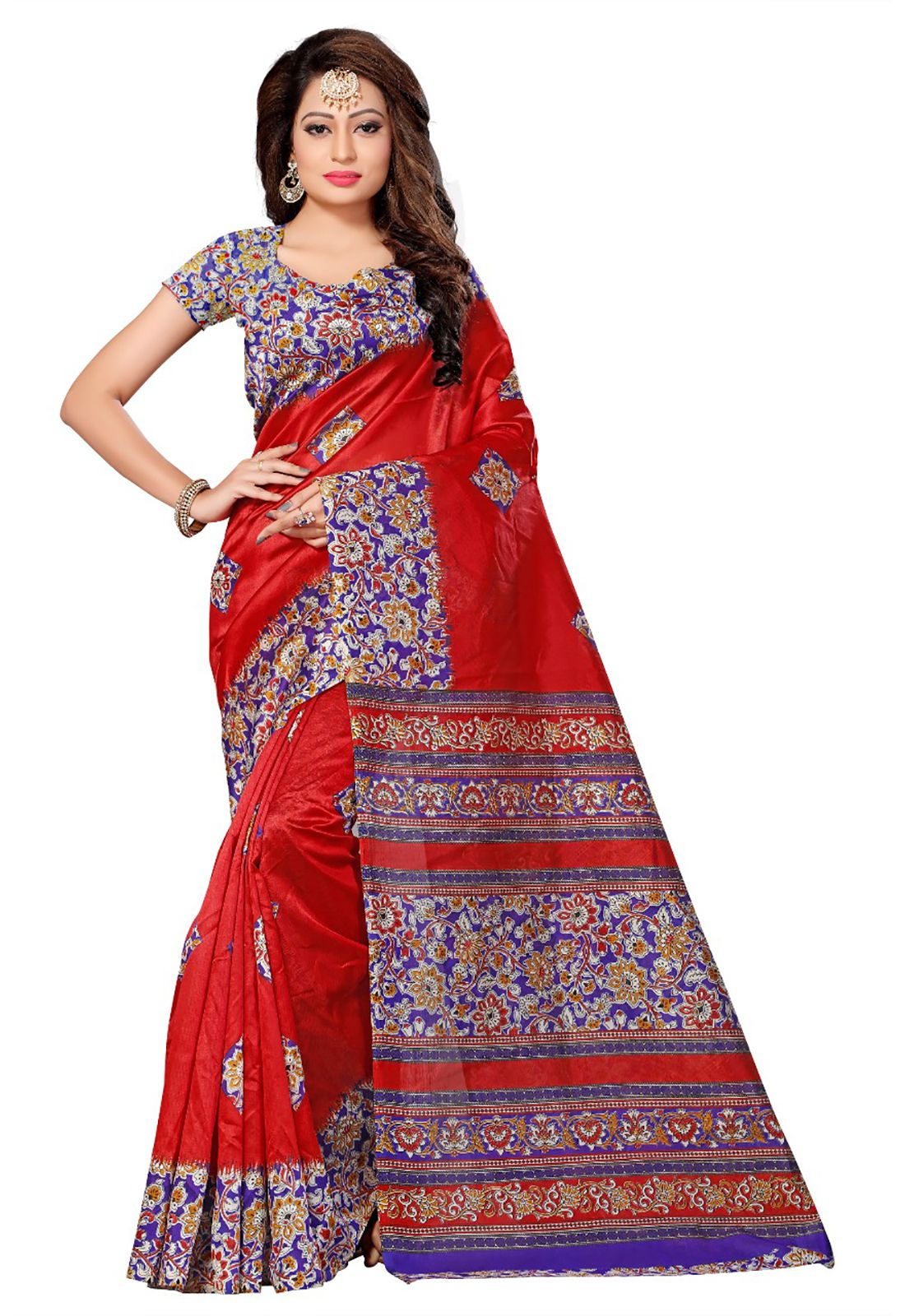 Ishin Red Art Silk Saree
