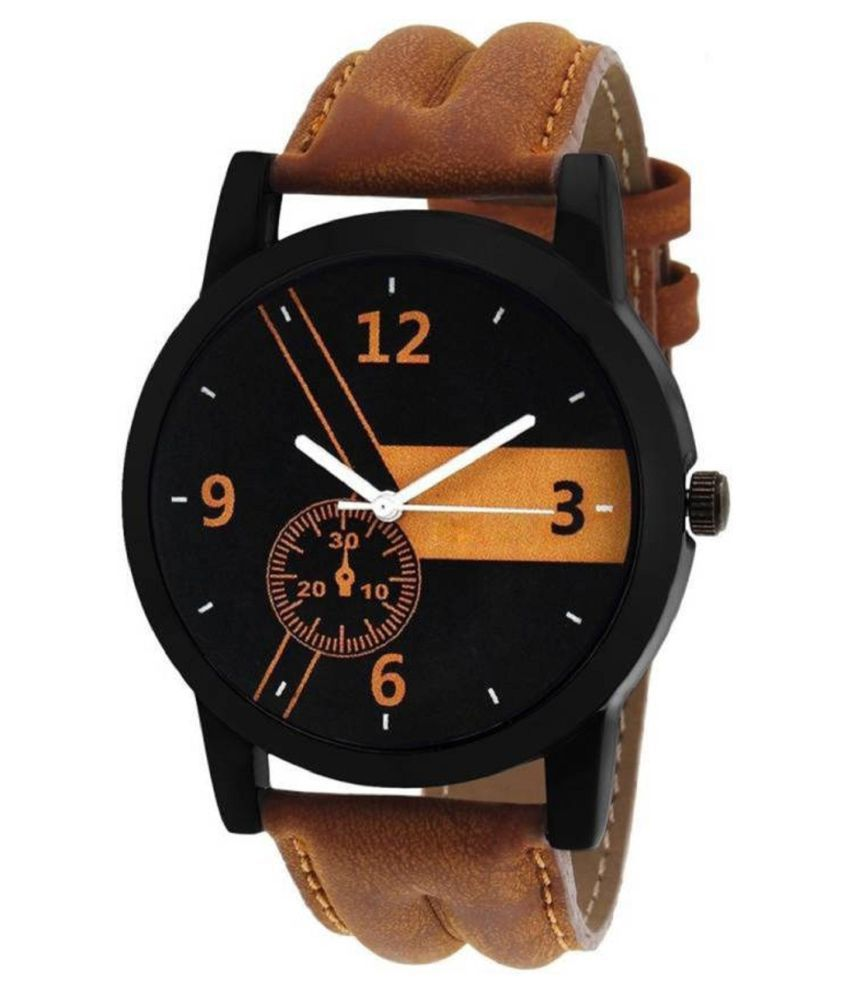 Maan International Stylish Brown Leather Strap Watch For Boys