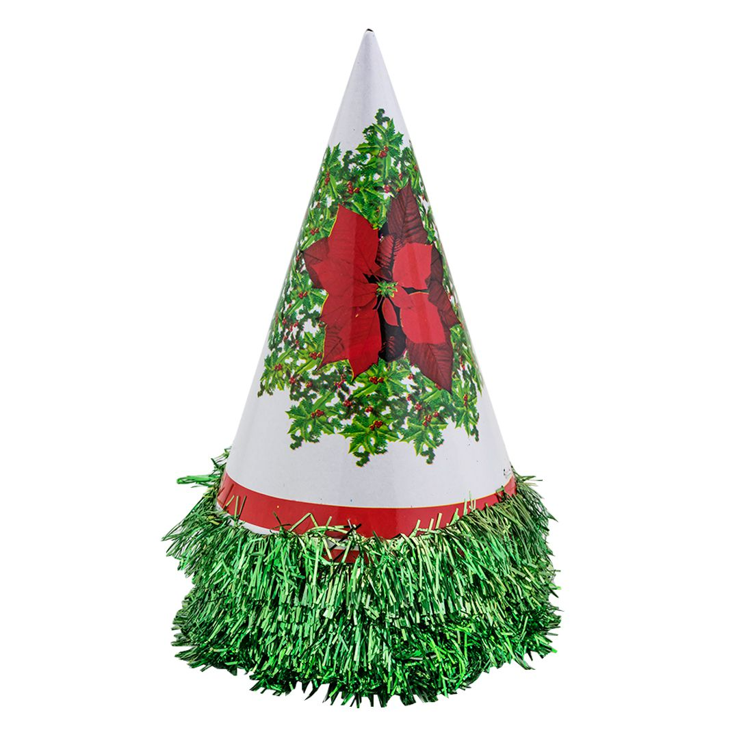Enjoy Green Christmas Paper Cone Cap (Pack Of 10)