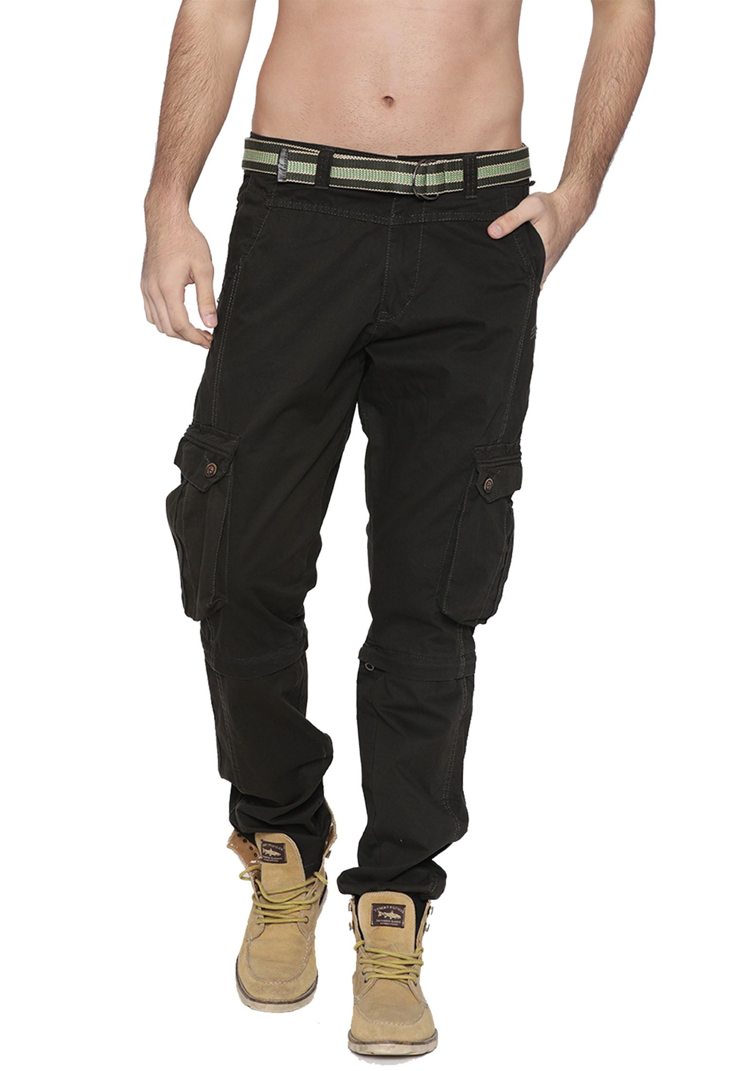 FIFTY TWO Olive Green Regular -Fit Flat Cargos