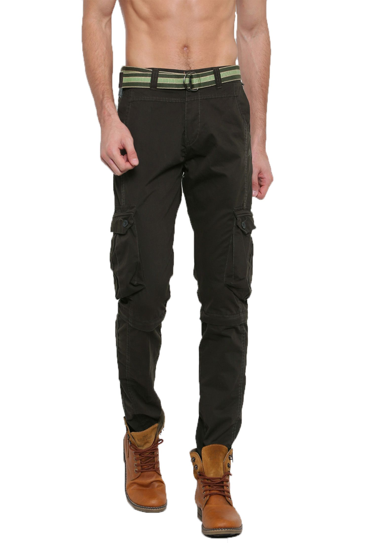 SPORTS 52 WEAR Olive Green Regular -Fit Flat Cargos