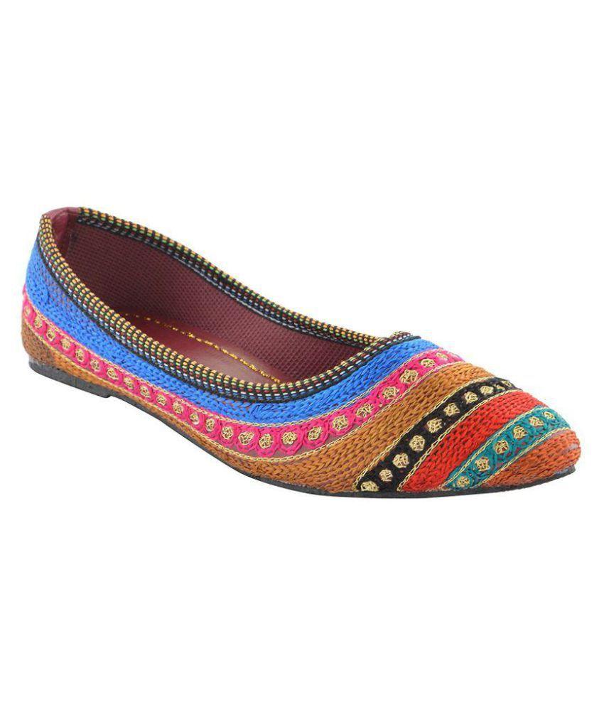 100present Multi Color Ethnic Footwear