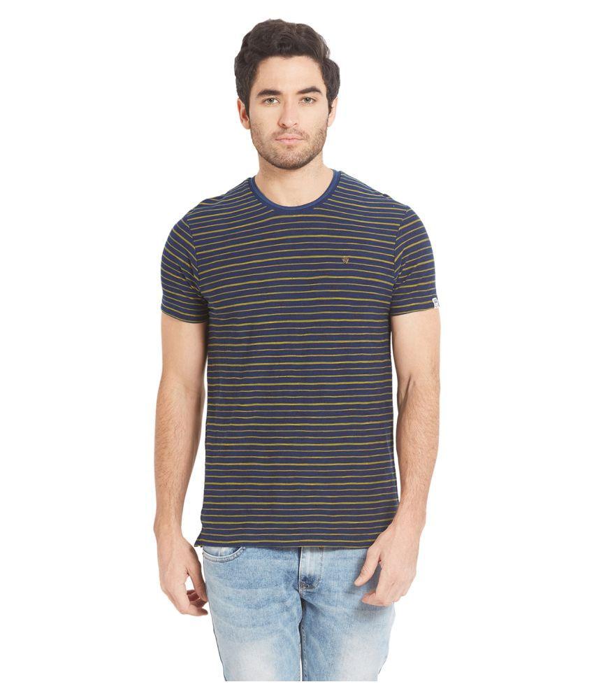 Spykar Blue Round T-Shirt Pack of 1