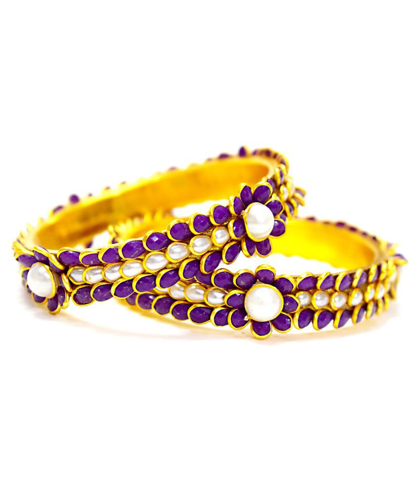 Elegant White & Blue Safayer Combo Colour Pacchi Bangles Set of 2 Gold Plated Antique Style for Women & Girls handmade Latest Jaipur Balaji Collection hot Jewelry