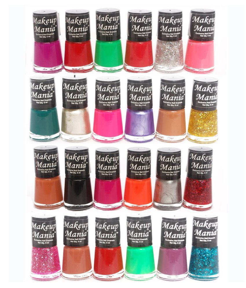 Makeup Mania Exclusive Set of 24 Trendy Nail Polish Multicolor Glossy 144 ml