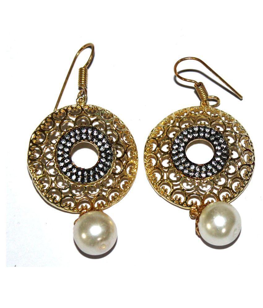 Sterling Silver Overlay Gold Plated Round ManMade Zircon Stone 16gm Earring Pair