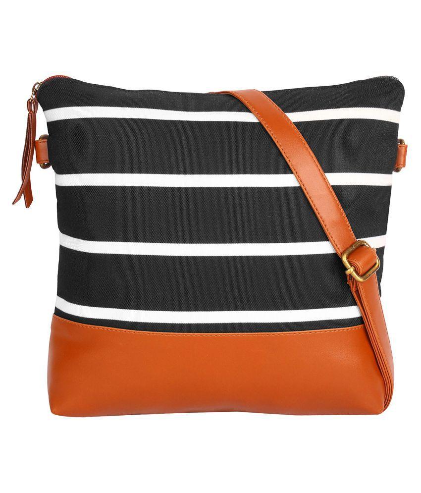 Ayeshu Black P.U. Sling Bag