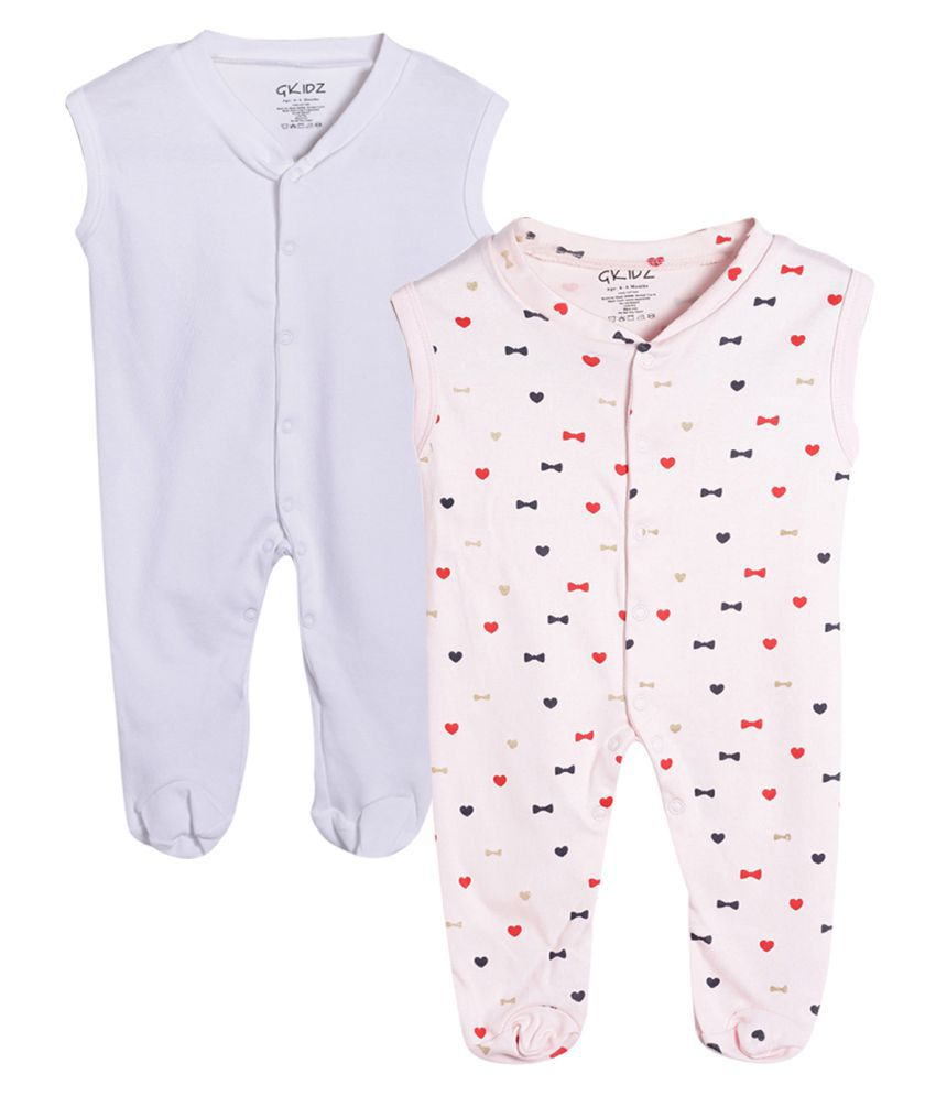 Gkidz Infants Sleeveless Pack of 2 Printed and Solid White Sleepsuit