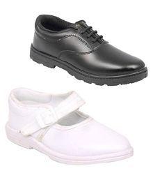 Ddass BLK WHT Boy girlSschool shoes