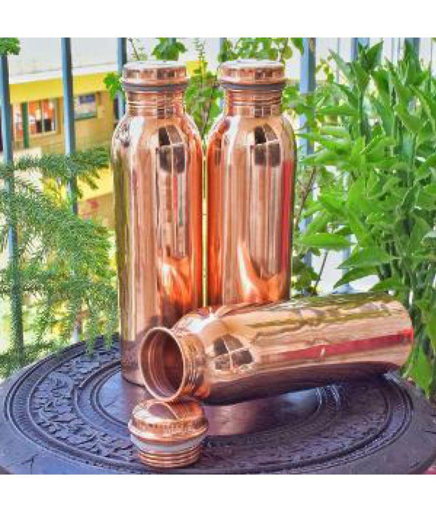 Jaipur Kala Kendra Brown 950 ml Copper Water Bottle Set of 3