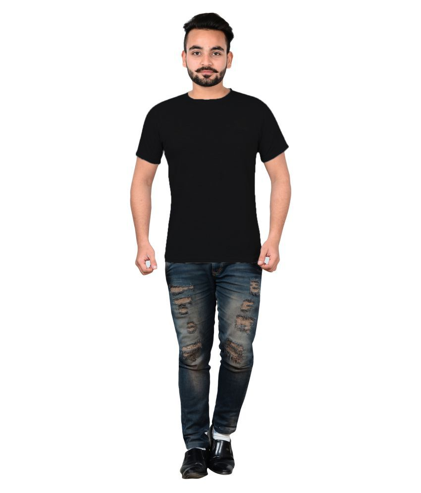 Ytrick Black Round T-Shirt Pack of 1