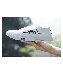 Treadfit Zigzag White Sneakers Dailywear Sneakers White Casual Shoes