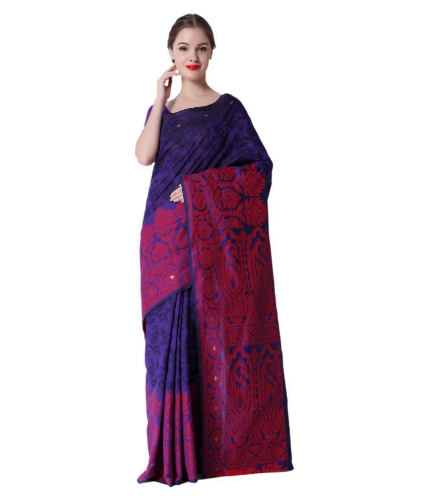 Makewayin Purple Cotton Saree