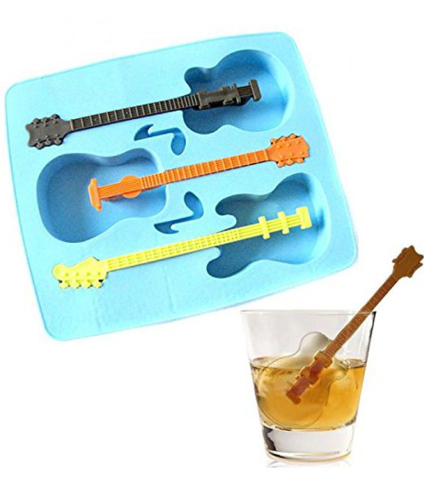 Mehak Ent Guitar Shaped Ice Cube Silicone Tray Light Blue 1 Pcs