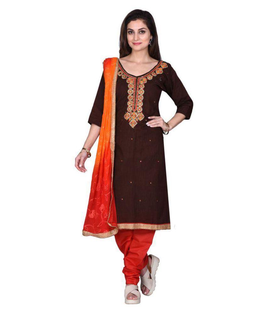 The Chennai Silks Brown Cotton Dress Material