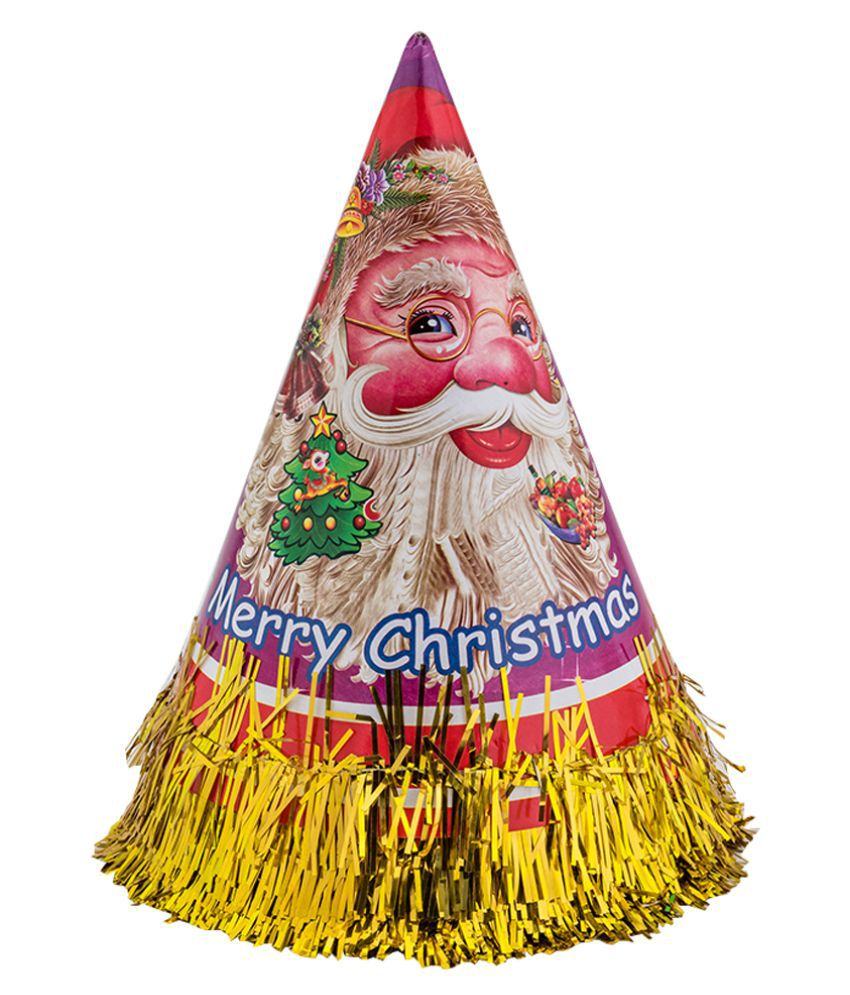 Enjoy Golden Christmas Paper Cone Cap (Pack Of 10)