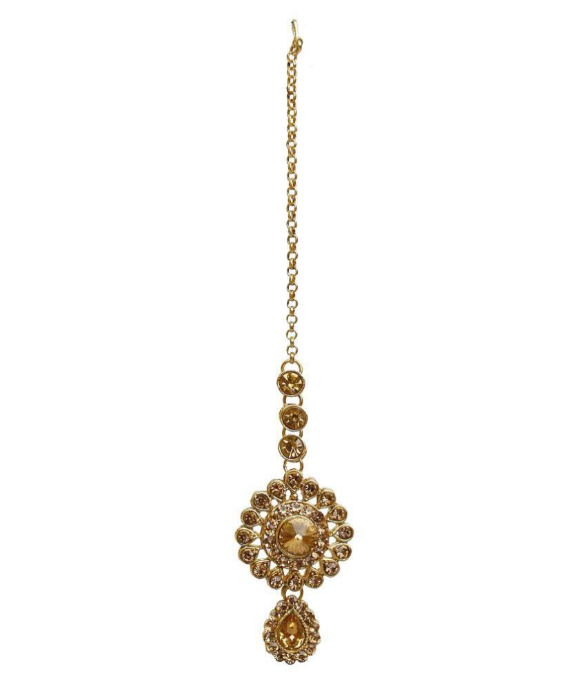 Lucky Jewellery Designer Golden Color Stone Pearl Layered Necklace ...