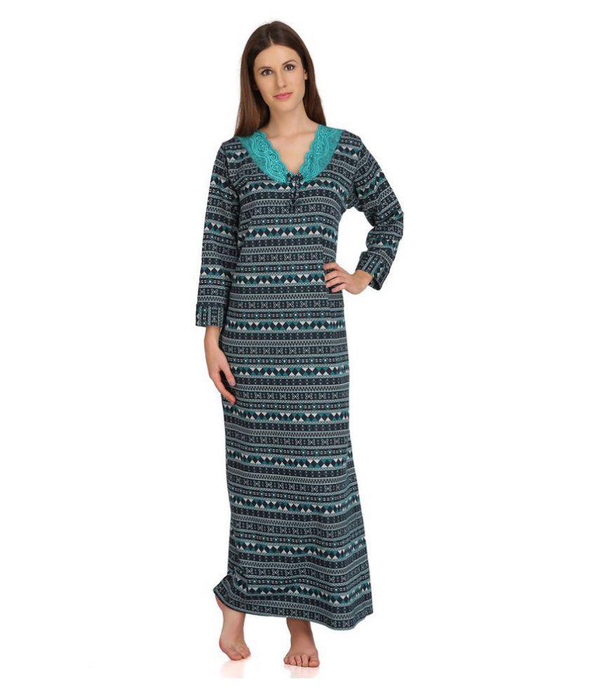 Clovia Woolen Nighty & Night Gowns - Green