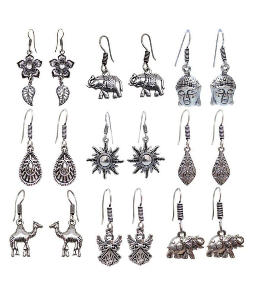 Lucky Jewellery Trendy Oxidised Plating Earring combo of 9 pcs for Girl & Women