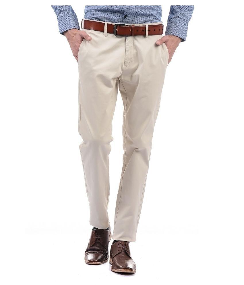 U.S. Polo Assn. Beige Slim -Fit Flat Trousers