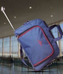 Wildmount Solid Blue Trolley Duffel Bag (Medium)