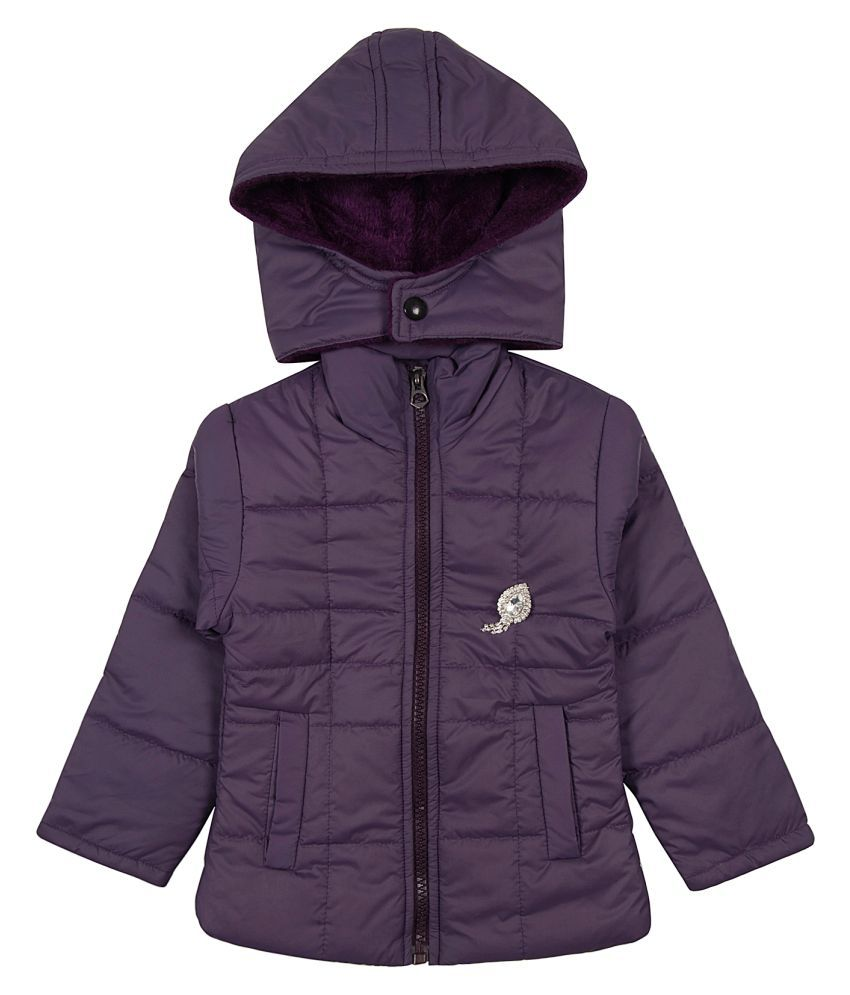Zoravie Girl's Polyester Full Sleeves Solid Jacket - Purple
