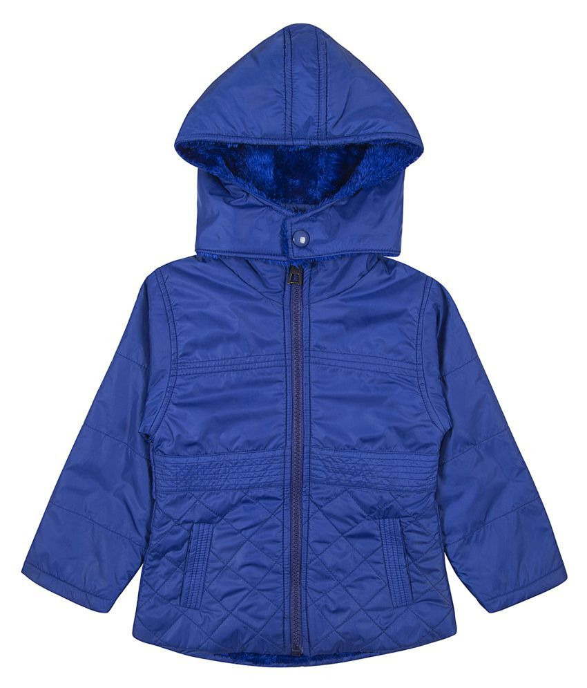 Zoravie Girl's Polyester Full Sleeves Solid Jacket - Dark Blue