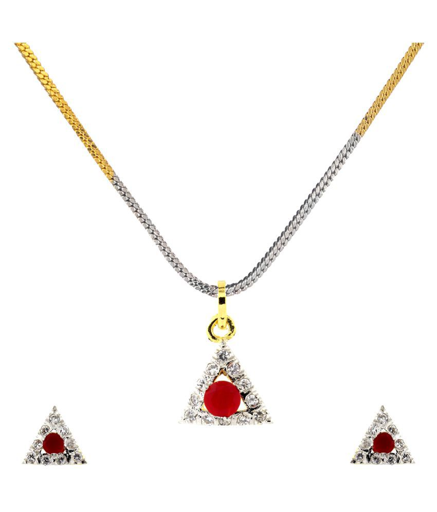 c50d100fad29c Be You Stunning Red Color Ruby & Cubic Zirconia Designer Look Rhodium  Plated Brass Earring & Pendant Set with Chain for Women