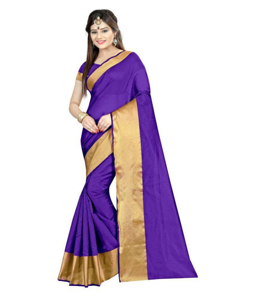... Gazal Fashions Purple Cotton Silk Saree