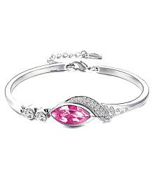 Marquise Beauteous Rhodium Plated Rose Pink Crystal Bracelet for Women by Parisha Jewells BA00008