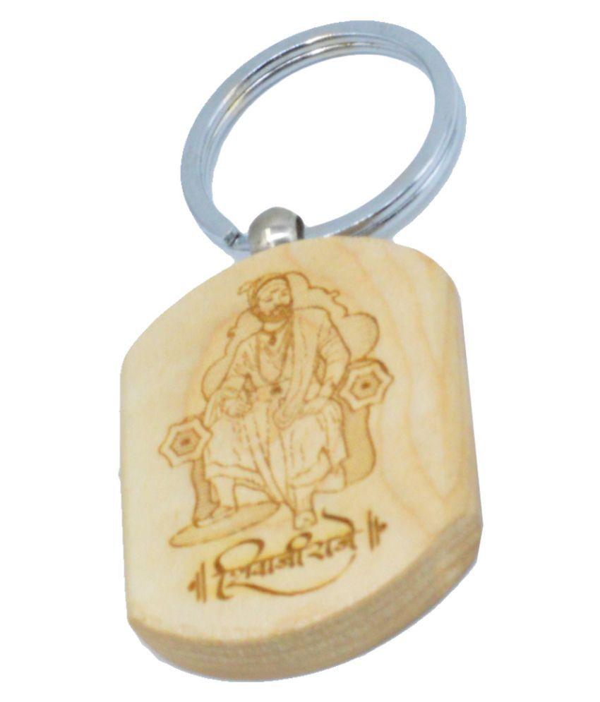Faynci Shivaji Raje Engraved Handcrafted Wooden Key Chain for Shiv Premi