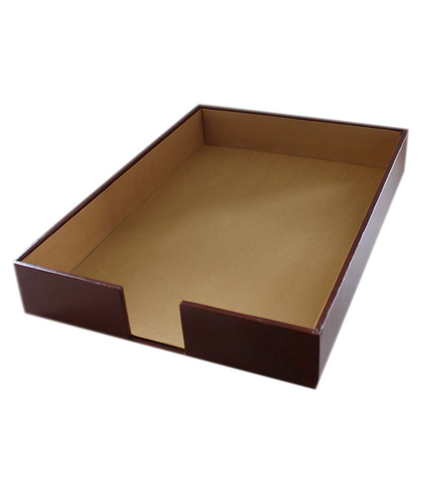 Leather Paper Tray Brown Stah277 Home Office Room Desk Organiser Accessories