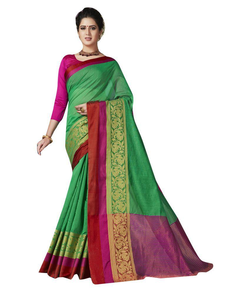 Shaily Retails Green and Maroon Kanchipuram Saree
