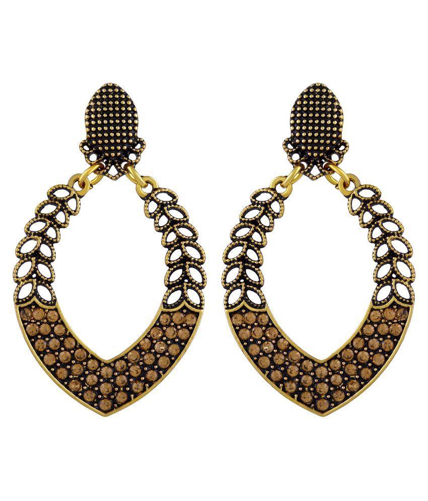 Asmitta Royal Dangle Gold Plated Leaf Shape Earring For Women