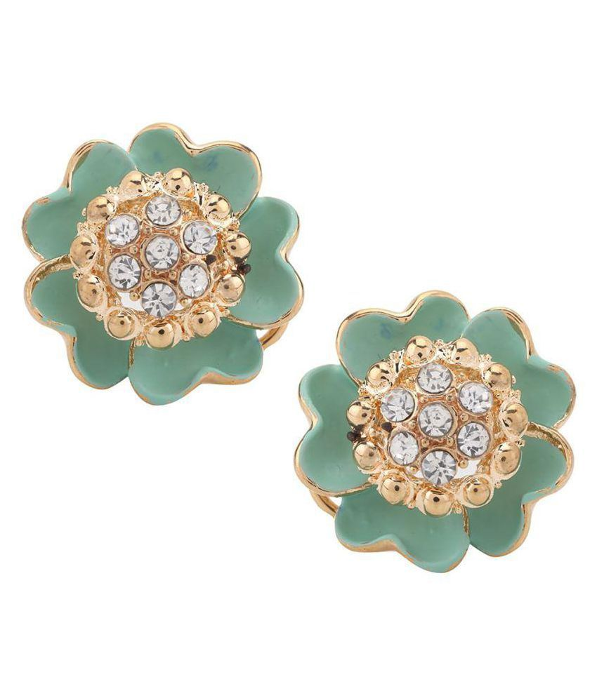 Jewel Touch Fashion Gold Plated Green Metal Stud Earring for Women
