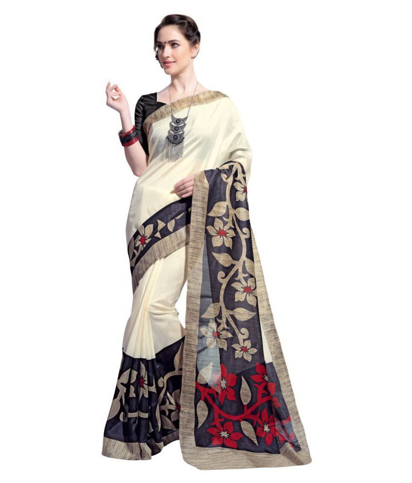 Saree Mall Off White Bhagalpuri Silk Saree