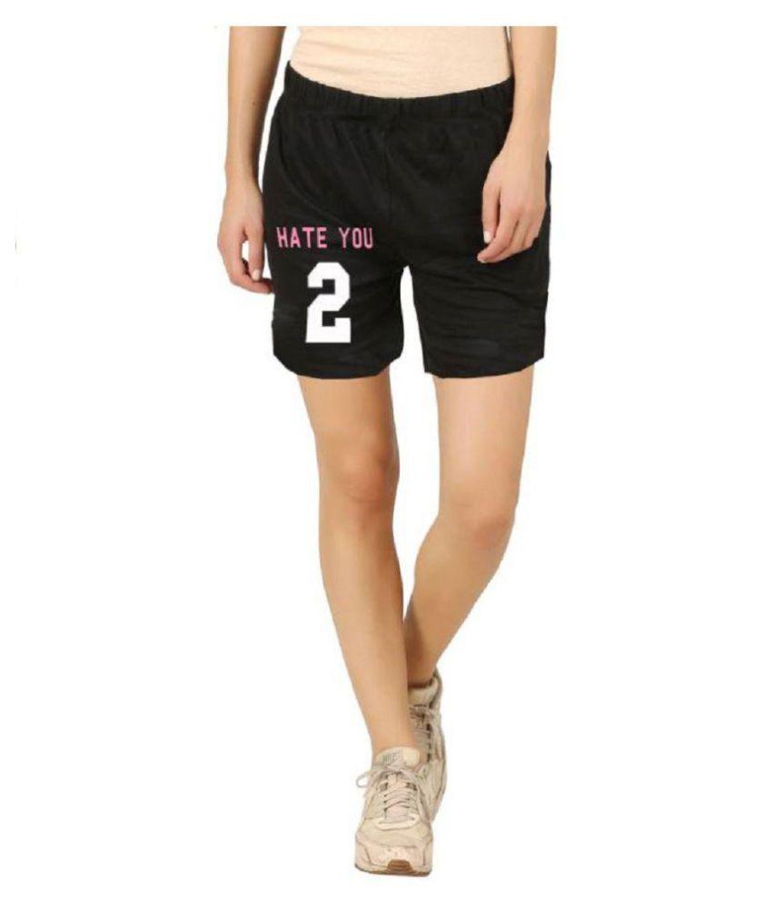 Hotfits Graphic Print Women's Black Basic Shorts