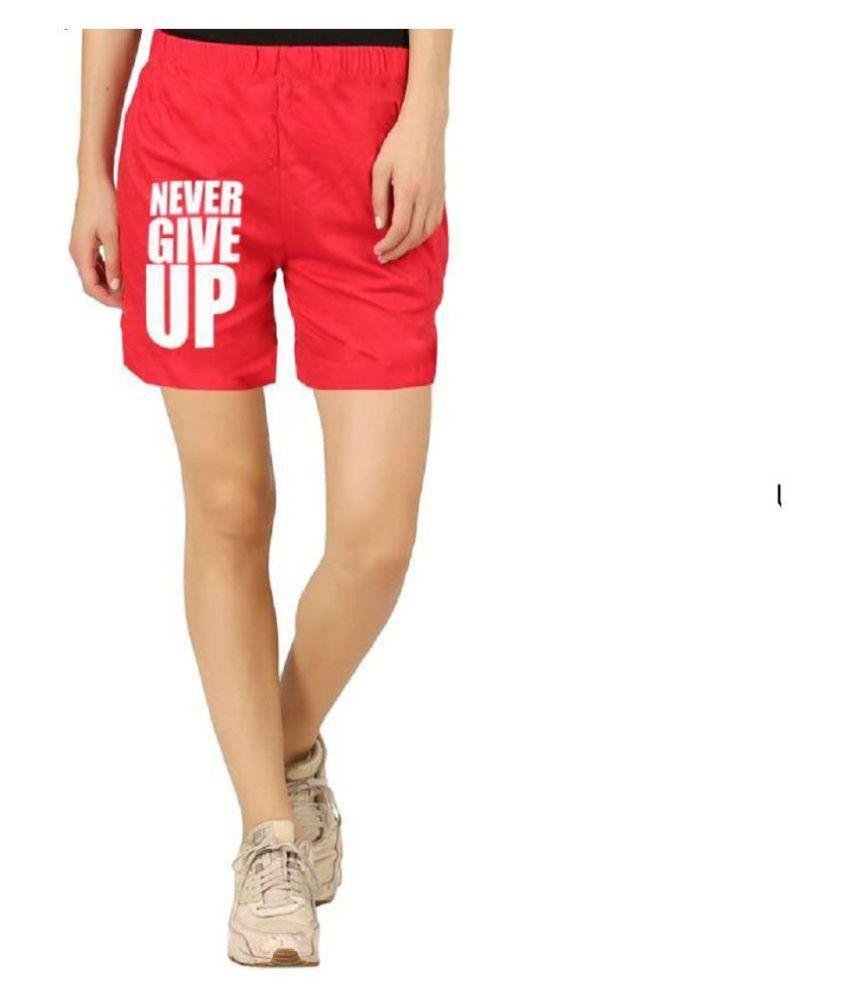Hotfits Graphic Print Women's Red Basic Shorts