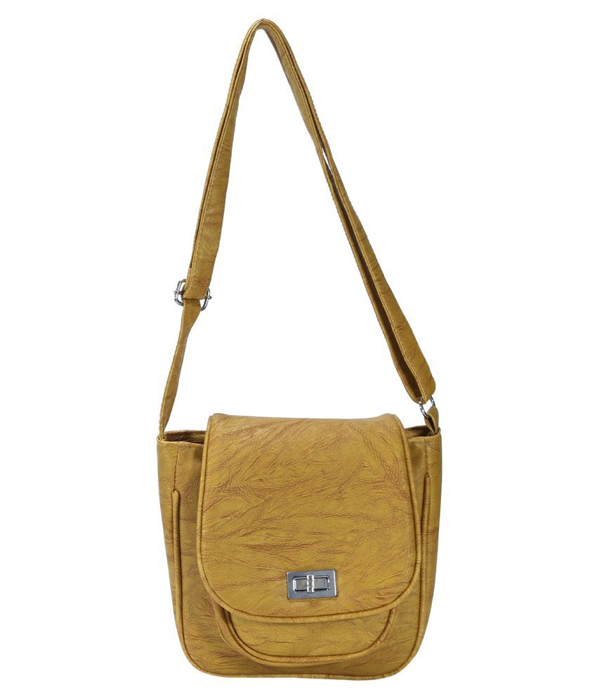 Desence Yellow Faux Leather Sling Bag