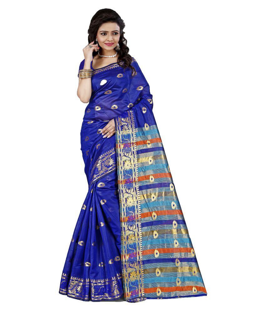Fashion Founder Navy Cotton Silk Saree