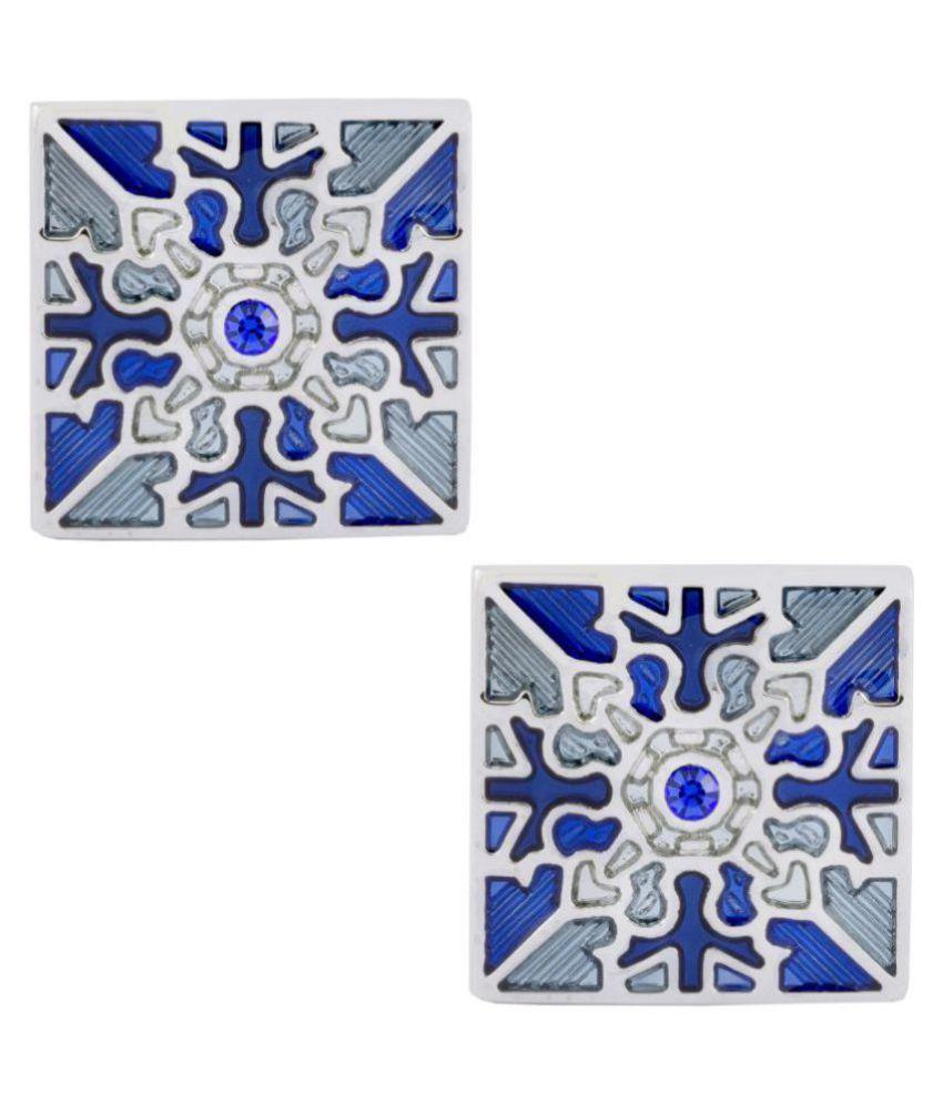 The Jewelbox Formal Shirt Square Victorian Enamel Blue Sky Blue Rhodium Cufflinks Pair Boys Men Gift Box