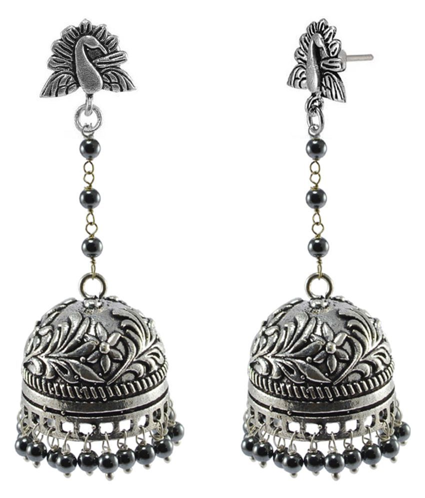Silvesto India Oxidized Peacock Jhumki Contrast Sleek Globes Of Hematite Beads PG 116692