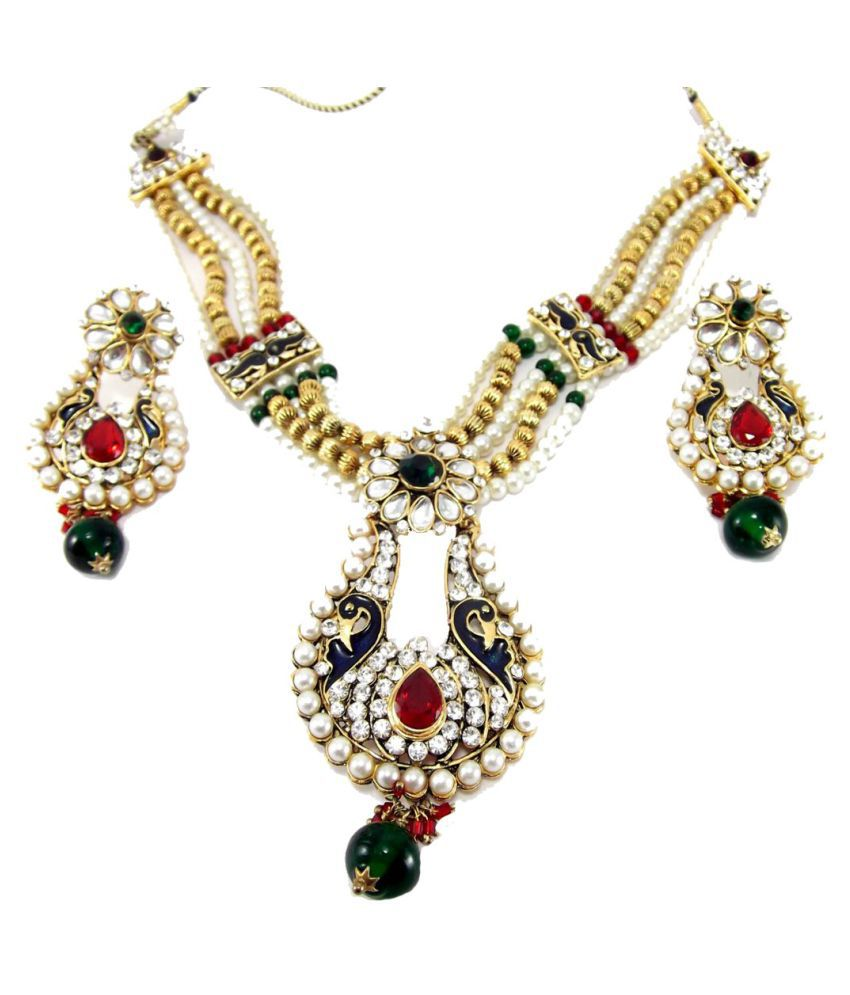 9blings Peacock Style Pearl Kundan Gold Plated Necklace Earring Choker Set
