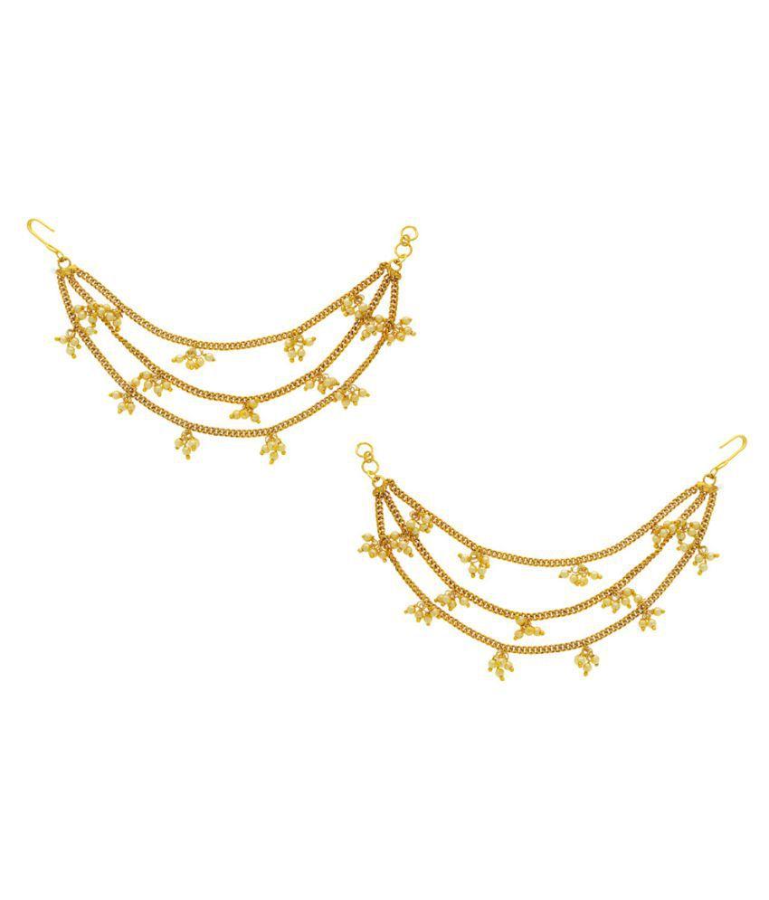Anuradha Art Gold Finish Beads Styled Three Layers Beautiful Traditional Kan Chain/Ear Chain Earrings For Women/Girls