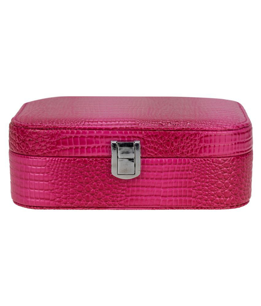 AVMART Pink Leather Look Jewellery, makeup box Vanity Box