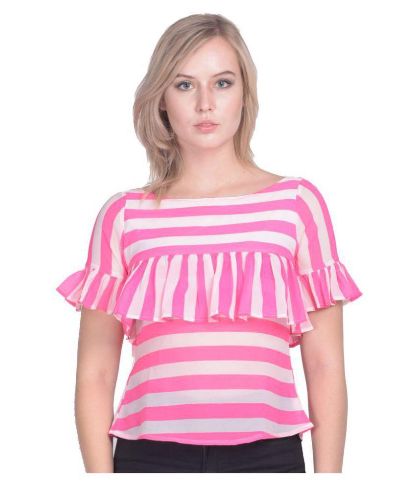 Peppytone Poly Georgette Regular Tops - Pink