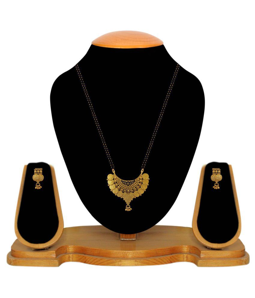 Aabhu Traditional Laxmi Temple Coin Ginni Mangalsutra Necklace With Earring And Chain Jewellery For Women