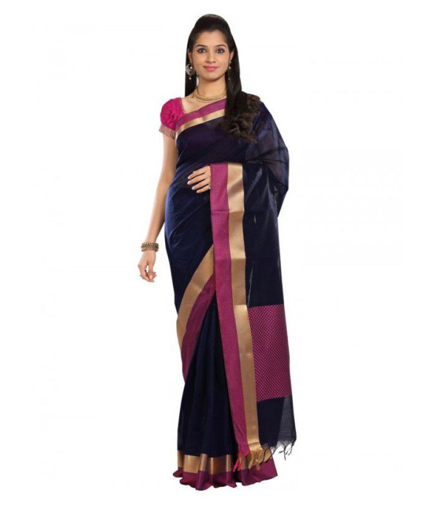 Kumaran Silks Blue Cotton Silk Saree
