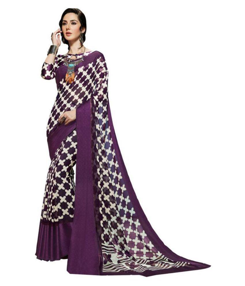 Kumaran Silks Purple Georgette Saree