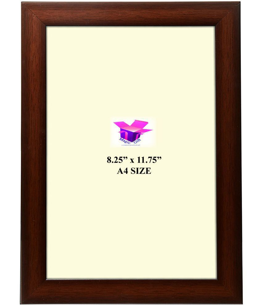 MAGIC GIFT Wood Table Top & Wall hanging Brown Single Photo Frame - Pack of 1
